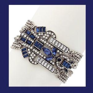 Blue Crystal & Silvertone Jovia Deco Bracelet